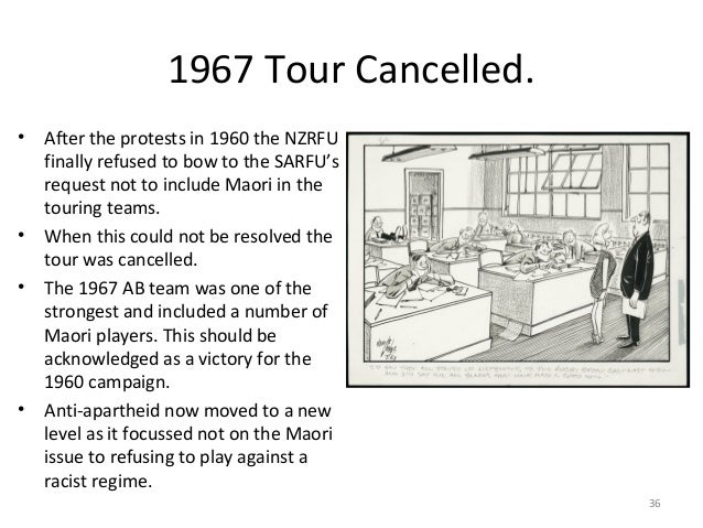 1967 Tour Cancelled. • After the protests in 1960 the NZRFU finally refused to bow to the SARFU's request not to include M...