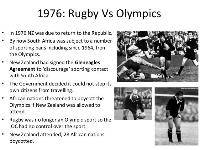 1976: Rugby Vs Olympics • •  •  • •  • •  In 1976 NZ was due to return to the Republic. By now South Africa was subject to...
