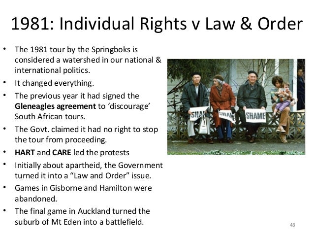 1981: Individual Rights v Law & Order •  • •  • • • • •  The 1981 tour by the Springboks is considered a watershed in our ...