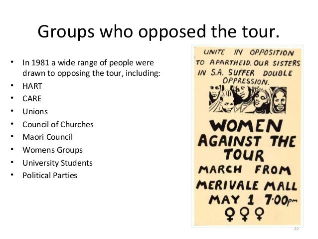 Groups who opposed the tour. • • • • • • • • •  In 1981 a wide range of people were drawn to opposing the tour, including:...
