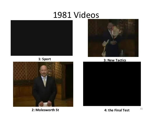 1981 Videos  1: Sport  2: Molesworth St  3: New Tactics  4: the Final Test  61