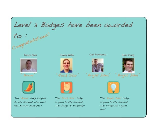 """Congratulations! Level 3 Badges have been awarded to : Trevor Zack """"Boom"""" The """"Boom"""" badge is given to the student who nai..."""