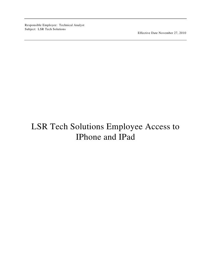 LSR Tech Solutions Employee Access to IPhone and IPad<br />LSR Tech Solutions Employee Access IPhone and IPad<br />_______...