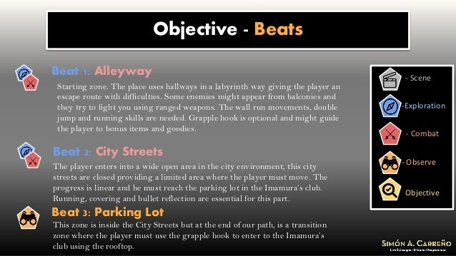 Objective - Beats - Scene -Exploration - Combat Objective - Observe Beat 1: Alleyway Starting zone. The place uses hallway...