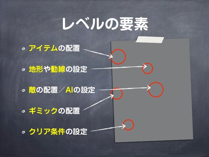 レベルの要素アイテムの配置地形や動線の設定敵の配置/AIの設定ギミックの配置クリア条件の設定