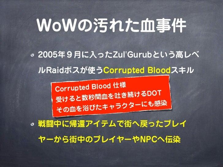 WoWの汚れた血事件2005年9月に入ったZulGurubという高レベルRaidボスが使うCorrupted Bloodスキル   Corru pted Blood 仕様                    吐き続けるDOT   受 けると数...