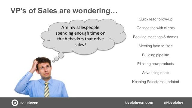 VP's of Sales are wondering… Quick lead follow-up  Are my salespeople spending enough time on the behaviors that drive sal...