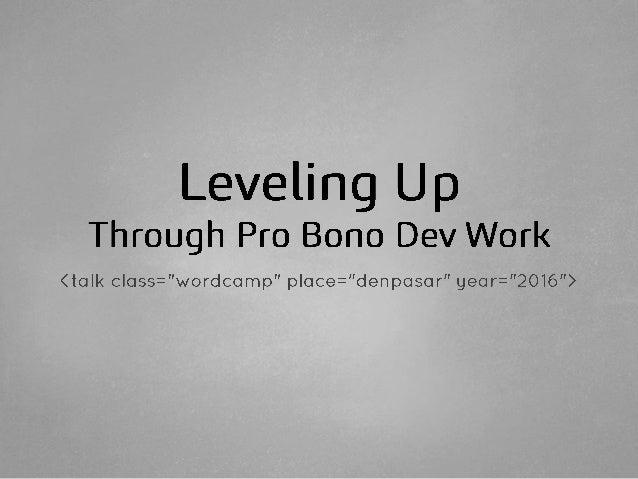 Leveling Up Through Pro Bono Dev Work