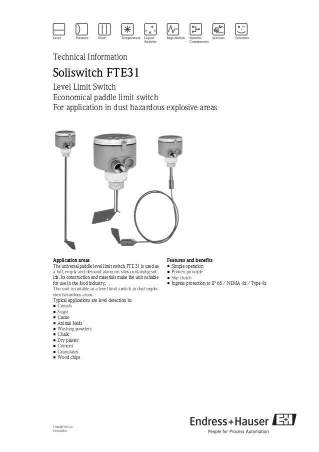 TI068R/09/en51002384Technical InformationSoliswitch FTE31Level Limit SwitchEconomical paddle limit switchFor application i...