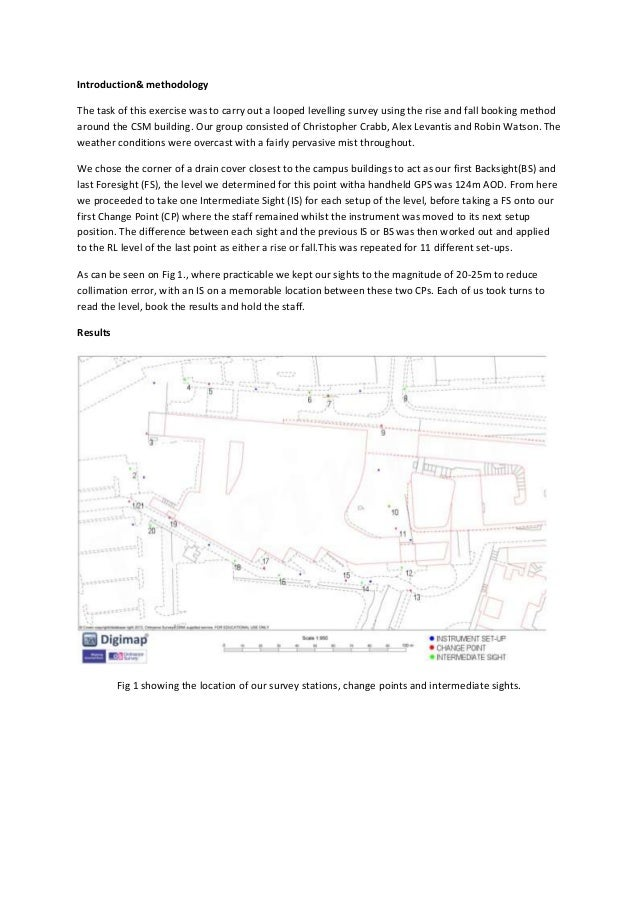 Introduction& methodology The task of this exercise was to carry out a looped levelling survey using the rise and fall boo...
