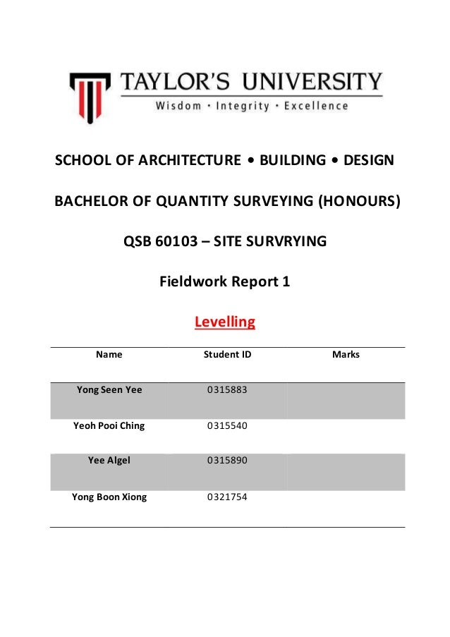 SCHOOL OF ARCHITECTURE • BUILDING • DESIGN BACHELOR OF QUANTITY SURVEYING (HONOURS) QSB 60103 – SITE SURVRYING Fieldwork R...