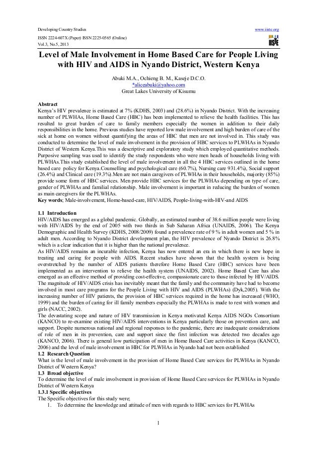 Developing Country Studies www.iiste.orgISSN 2224-607X (Paper) ISSN 2225-0565 (Online)Vol.3, No.5, 20131Level of Male Invo...