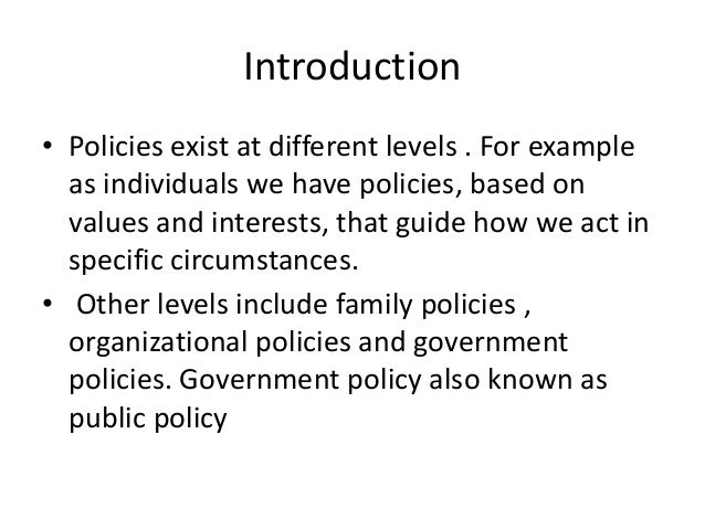 levels and typologies of public policy