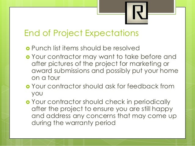 Setting expectations in a residential remodel for Punch list items