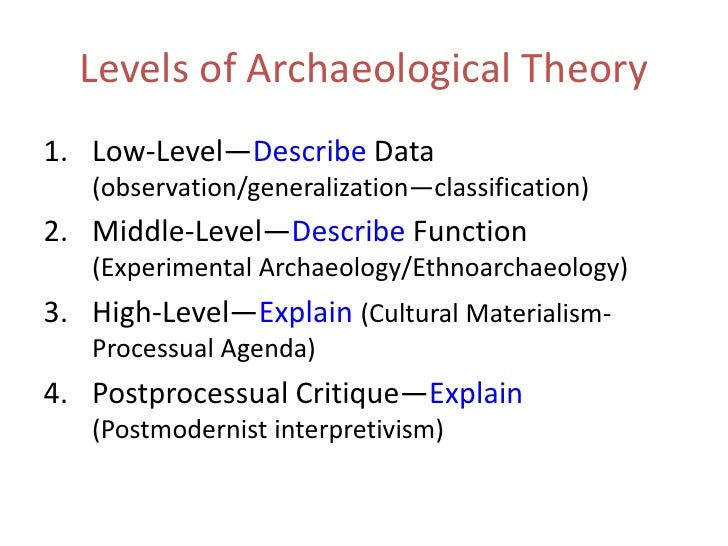 Levels of Archaeological Theory<br />Low-Level—Describe Data (observation/generalization—classification)<br />Middle-Level...