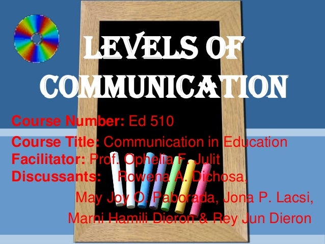 Course Number: Ed 510 Course Title: Communication in Education Facilitator: Prof. Ophelia F. Julit Discussants: Rowena A. ...