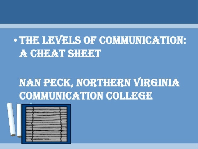 the levels of communication Start studying final exam comm 100 learn vocabulary, terms, and more with flashcards, games rules that define what communication means by specifying how certain communicative acts are to be counted listening only to the content level of meaning and ignoring the relational level of.