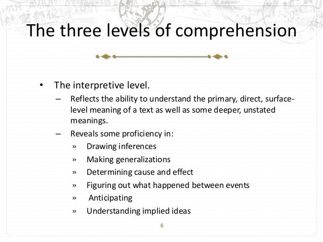 what are the four levels of comprehension