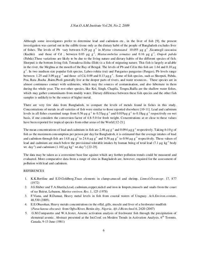 Cadmium dissertation in natural speciation water