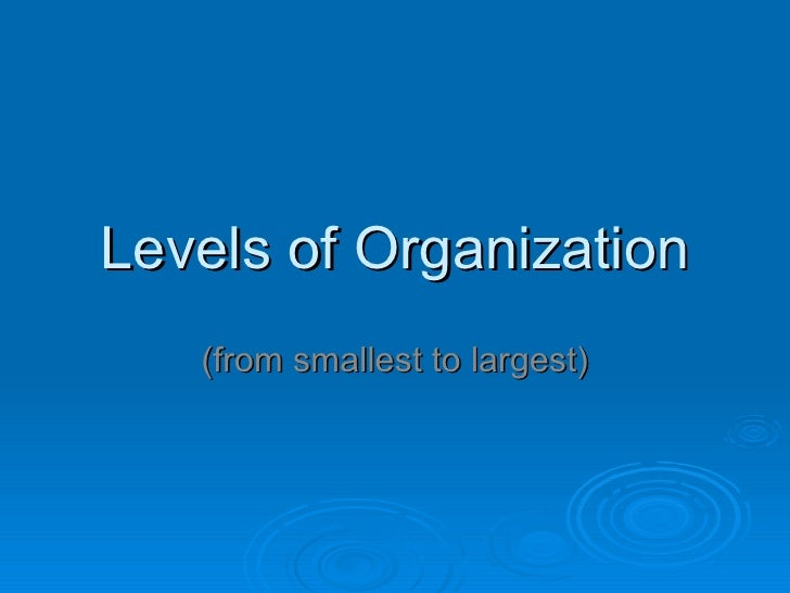 Levels of Organization (from smallest to largest)