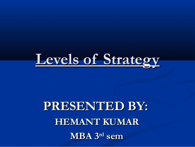Levels of Strategy PRESENTED BY: HEMANT KUMAR MBA 3rd sem