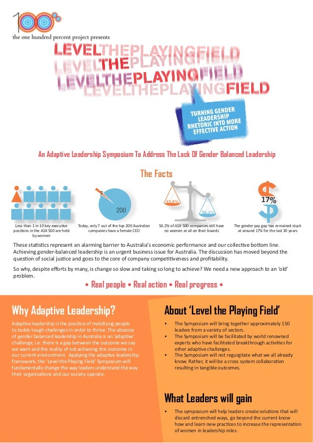 An Adaptive Leadership Symposium To Address The Lack Of Gender Balanced Leadership The Facts Why Adaptive Leadership? Abou...