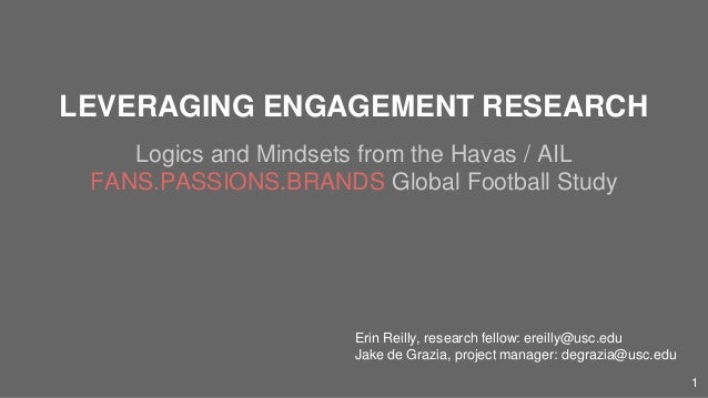 LEVERAGING ENGAGEMENT RESEARCH Logics and Mindsets from the Havas / AIL FANS.PASSIONS.BRANDS Global Football Study Erin Re...