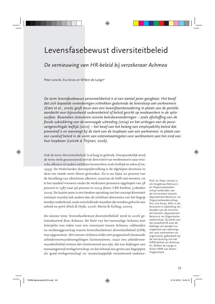 Levensfasebewust diversiteitbeleidDe vernieuwing van HR-beleid bij verzekeraar AchmeaPeter Leisink, Eva Knies en Willem de...