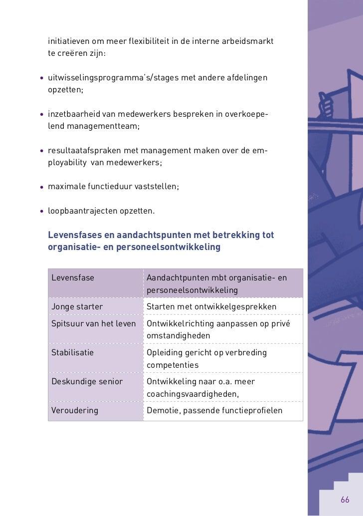 initiatieven om meer flexibiliteit in de interne arbeidsmarkt  te creëren zijn:• uitwisselingsprogramma's/stages met ander...