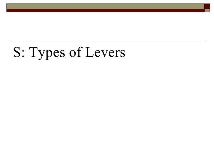 <ul><li>S: Types of Levers </li></ul>