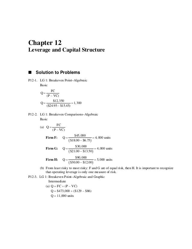 Leverage Chapter Problem Solution