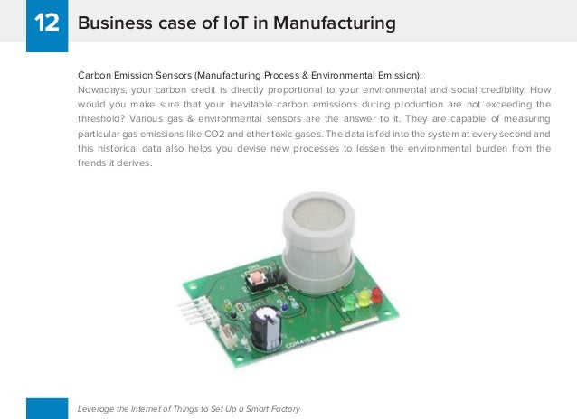 Business case of IoT in Manufacturing12 Leverage the Internet of Things to Set Up a Smart Factory Carbon Emission Sensors ...