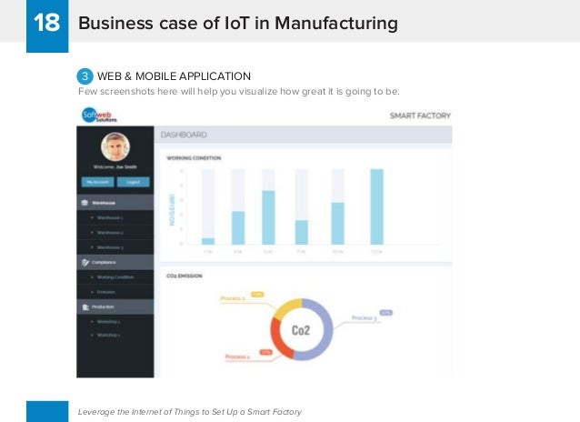 Business case of IoT in Manufacturing18 Leverage the Internet of Things to Set Up a Smart Factory 3 WEB & MOBILE APPLICATI...