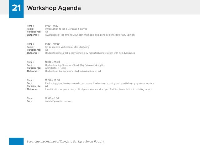 Workshop Agenda21 Leverage the Internet of Things to Set Up a Smart Factory Time : 9:00 – 9:30 Topic : Introduction to IoT...