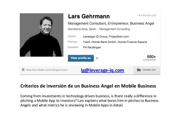 Criterios	   de	   inversión	   de	   un	   Business	   Angel	   en	   Mobile	   Business	    	    Coming	   from	   inves...