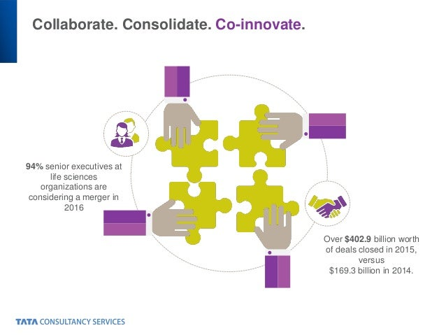 Collaborate. Consolidate. Co-innovate. Over $402.9 billion worth of deals closed in 2015, versus $169.3 billion in 2014. 9...