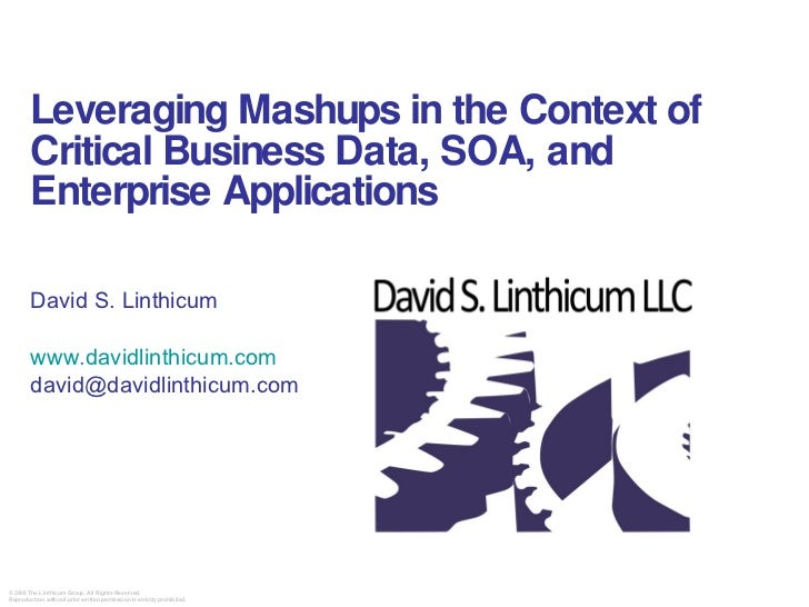 Leveraging Mashups in the Context of Critical Business Data, SOA, and Enterprise Applications David S. Linthicum  www.davi...
