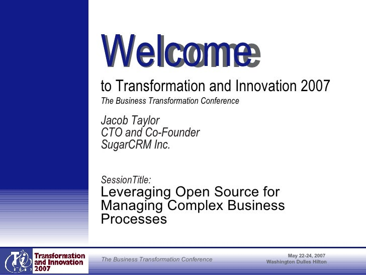 <ul><li>Jacob Taylor </li></ul><ul><li>CTO and Co-Founder </li></ul><ul><li>SugarCRM Inc. </li></ul><ul><li>SessionTitle: ...