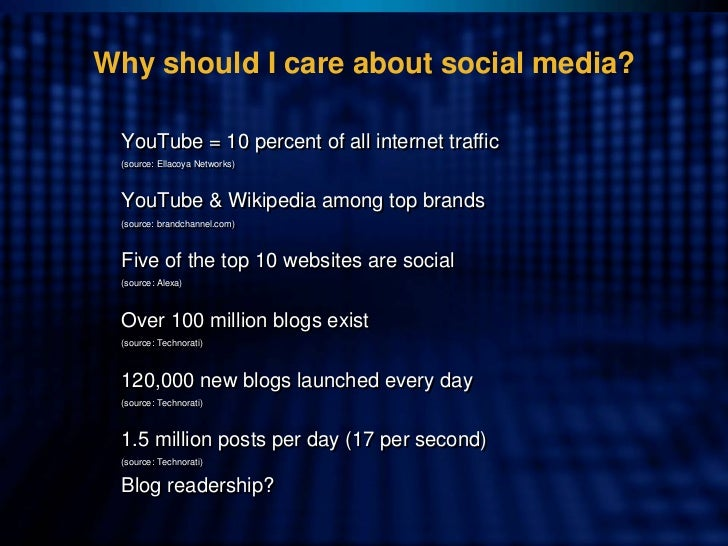 Why should I care about social media?   YouTube = 10 percent of all internet traffic  (source: Ellacoya Networks)   (sourc...