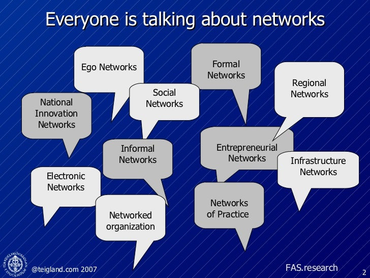Everyone is talking about networks National Innovation Networks Formal Networks Entrepreneurial Networks Ego Networks Regi...