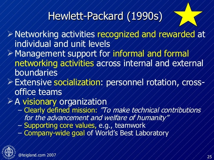 Hewlett-Packard (1990s) <ul><li>Networking activities  recognized and rewarded  at individual and unit levels </li></ul><u...