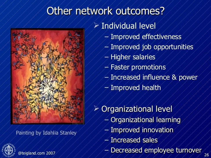 Other network outcomes? <ul><li>Individual level </li></ul><ul><ul><li>Improved effectiveness </li></ul></ul><ul><ul><li>I...