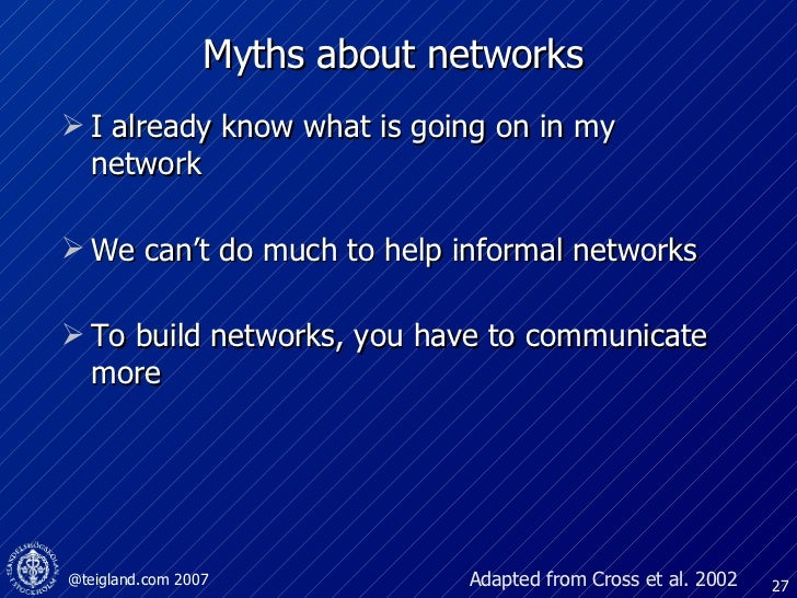 Myths about networks <ul><li>I already know what is going on in my network  </li></ul><ul><li>We can't do much to help inf...