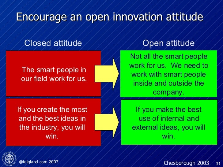 Encourage an open innovation attitude Not all the smart people work for us.  We need to work with smart people inside and ...