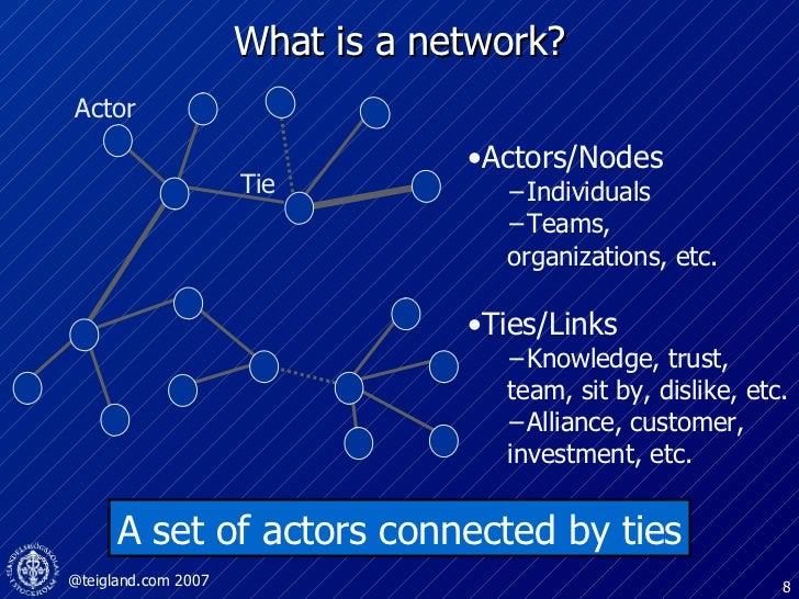 What is a network? A set of actors connected by ties <ul><li>Ties/Links </li></ul><ul><ul><li>Knowledge, trust, team, sit ...