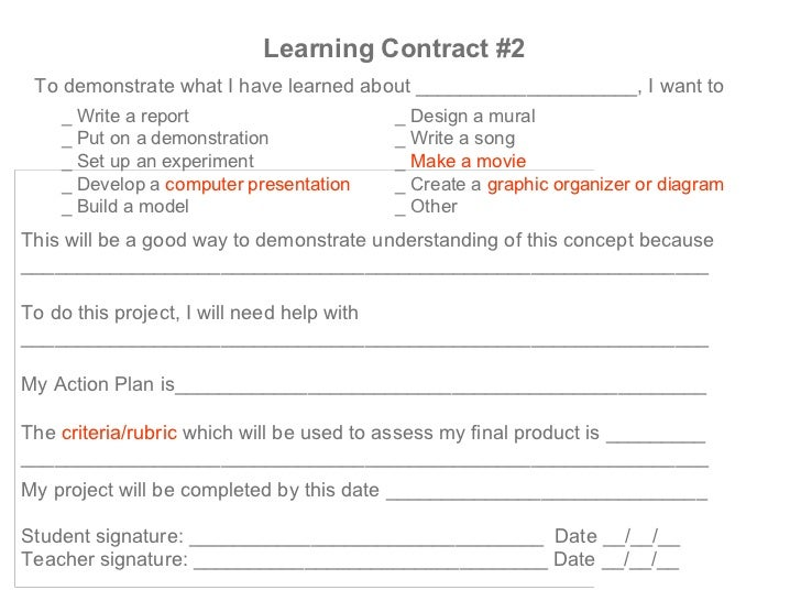 how to write a learning contract