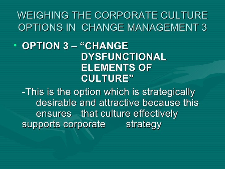initiate changes in the corporate culture Recognizing organizational culture in managing change  initiate an electronic comment box for employees, and implement surveys on customer service and supplier .