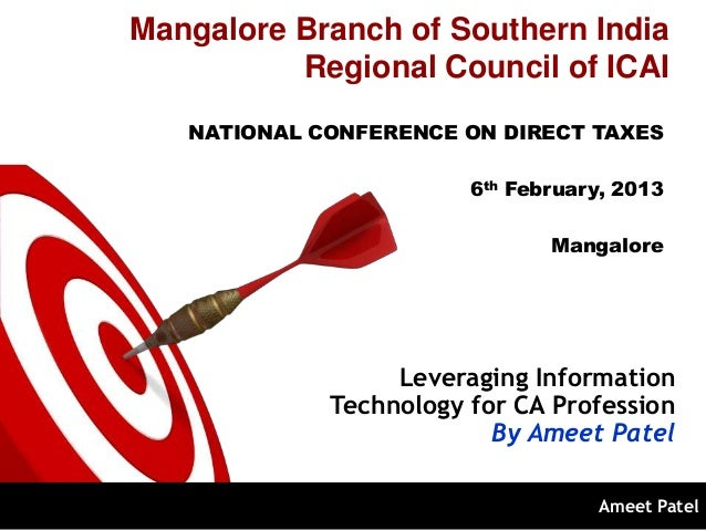 Mangalore Branch of Southern India          Regional Council of ICAI   NATIONAL CONFERENCE ON DIRECT TAXES                ...