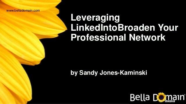 Leveraging LinkedIntoBroaden Your Professional Network by Sandy Jones-Kaminski www.belladomain.com