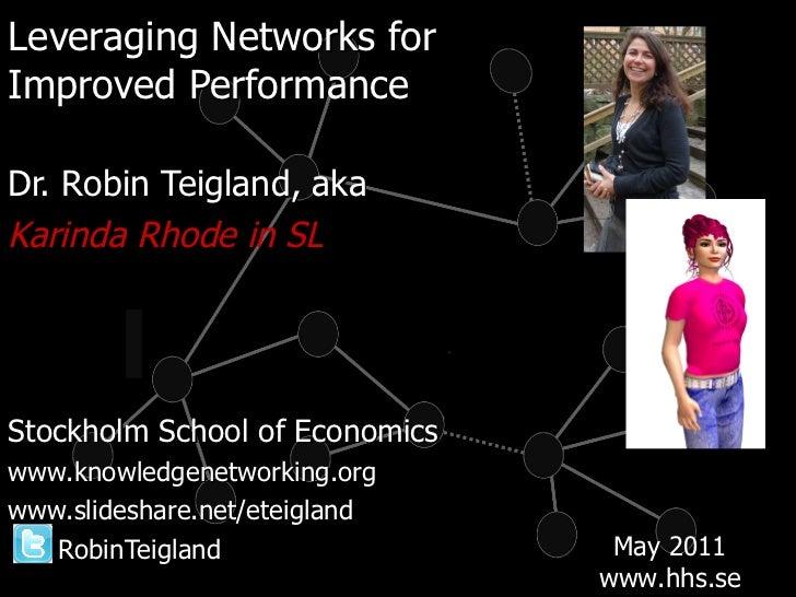<ul><li>Leveraging Networks for  </li></ul><ul><li>Improved Performance </li></ul><ul><li>Dr. Robin Teigland, aka </li></u...